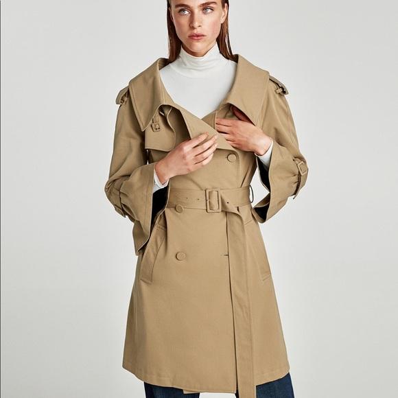 ca1fcf39 Zara Jackets & Coats | Studio Classic Trench With Oversized Collar ...